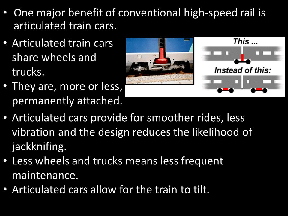 Magnetic Levitation Trains Conventional high-speed rail utilizes standard gauge rail, diesel engines and overhead electrified wires to propel trains.