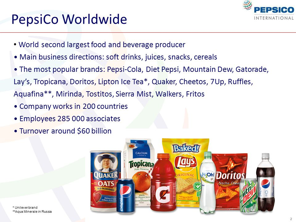 2 PepsiCo Worldwide World second largest food and beverage producer Main business directions: soft drinks, juices, snacks, cereals The most popular brands: Pepsi-Cola, Diet Pepsi, Mountain Dew, Gatorade, Lay's, Tropicana, Doritos, Lipton Ice Tea*, Quaker, Cheetos, 7Up, Ruffles, Aquafina**, Mirinda, Tostitos, Sierra Mist, Walkers, Fritos Company works in 200 countries Employees 285 000 associates Turnover around $60 billion * Unilever brand **Aqua Minerale in Russia