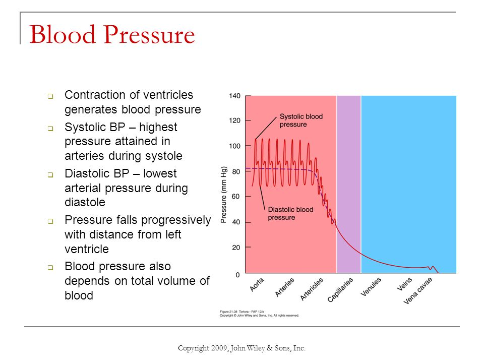 Copyright 2009, John Wiley & Sons, Inc. Blood Pressure  Contraction of ventricles generates blood pressure  Systolic BP – highest pressure attained