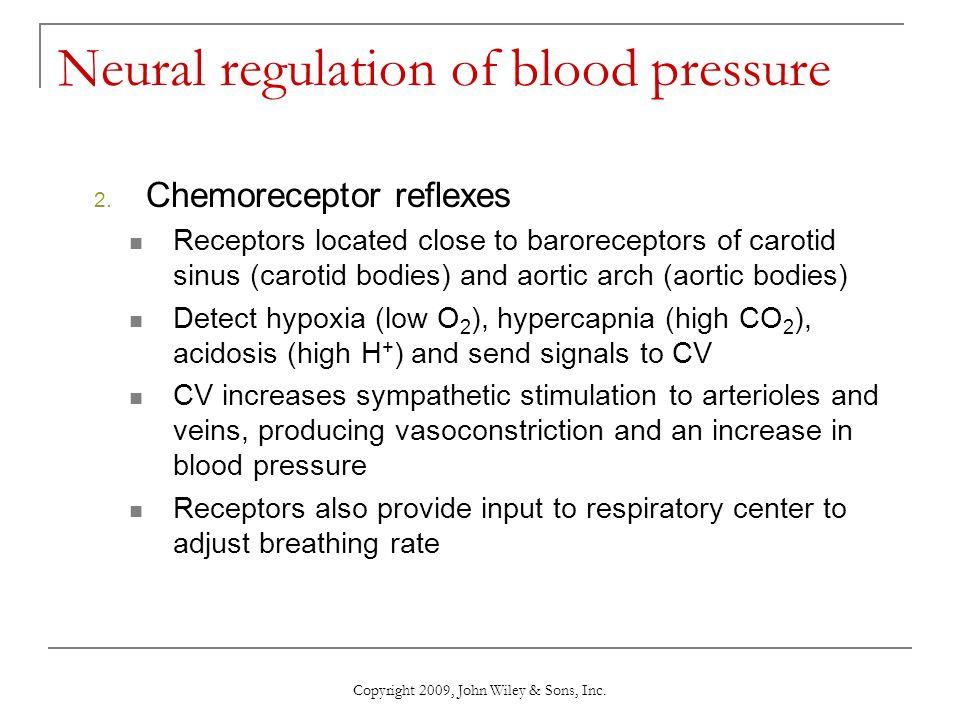Copyright 2009, John Wiley & Sons, Inc. Neural regulation of blood pressure 2. Chemoreceptor reflexes Receptors located close to baroreceptors of caro