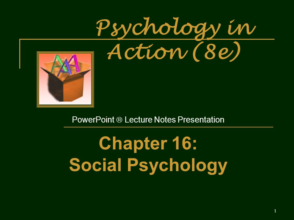 Psychology in Action (8e) PowerPoint  Lecture Notes Presentation Chapter 16: Social Psychology 1