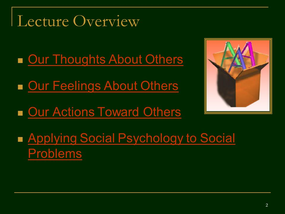 Lecture Overview Our Thoughts About Others Our Feelings About Others Our Actions Toward Others Applying Social Psychology to Social Problems Applying