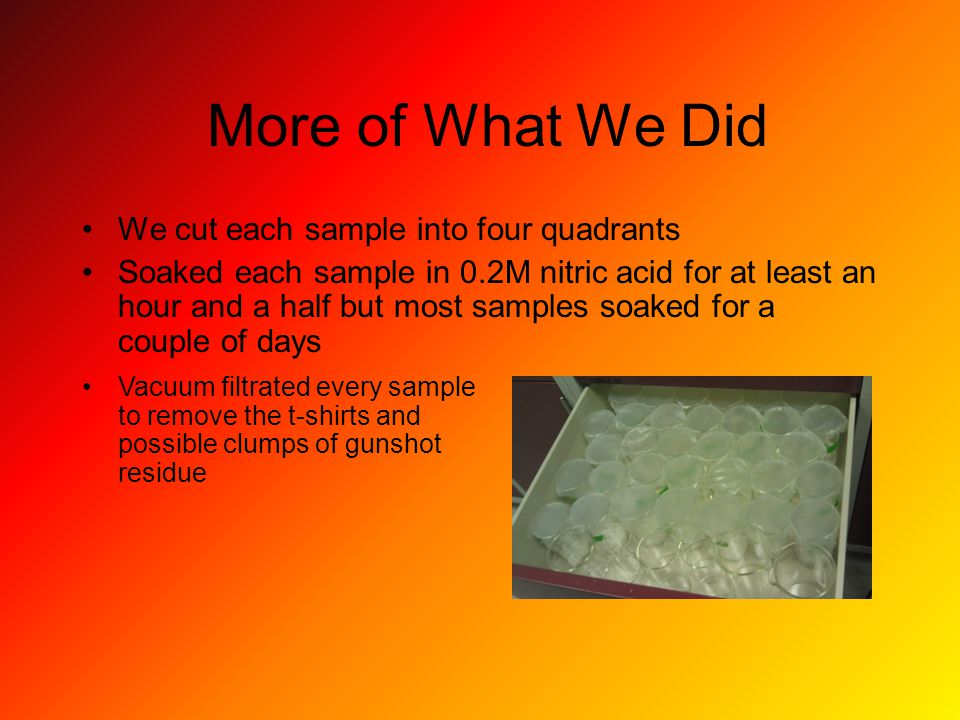 More of What We Did We cut each sample into four quadrants Soaked each sample in 0.2M nitric acid for at least an hour and a half but most samples soaked for a couple of days Vacuum filtrated every sample to remove the t-shirts and possible clumps of gunshot residue