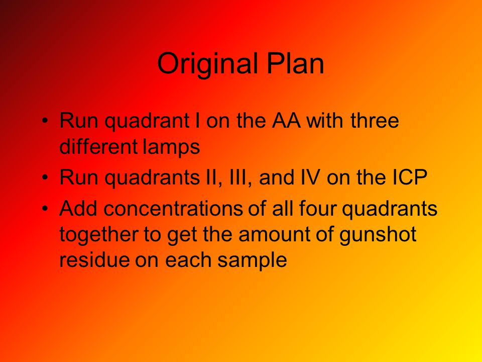 Original Plan Run quadrant I on the AA with three different lamps Run quadrants II, III, and IV on the ICP Add concentrations of all four quadrants together to get the amount of gunshot residue on each sample