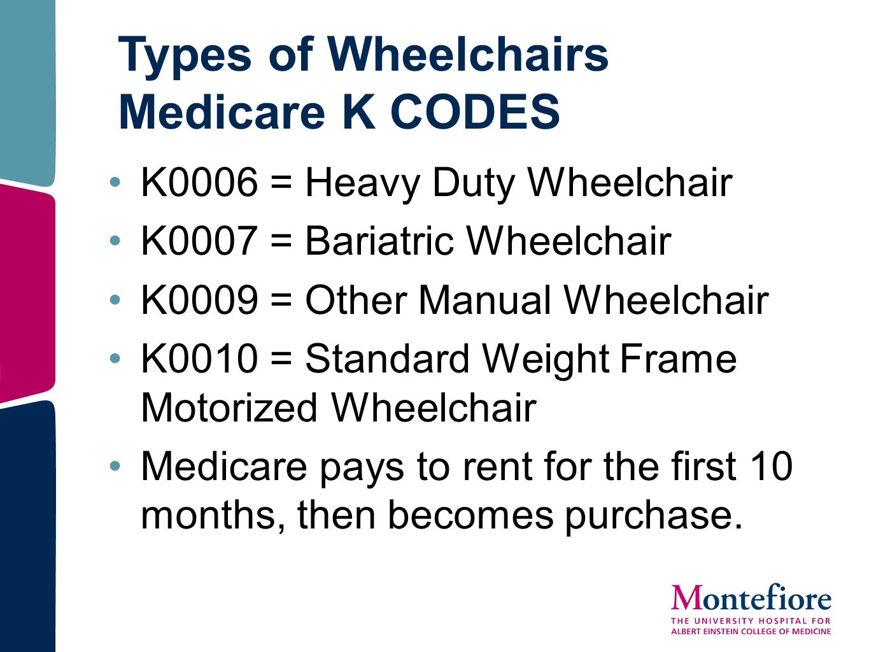 Types of Wheelchairs Medicare K CODES K0006 = Heavy Duty Wheelchair K0007 = Bariatric Wheelchair K0009 = Other Manual Wheelchair K0010 = Standard Weig