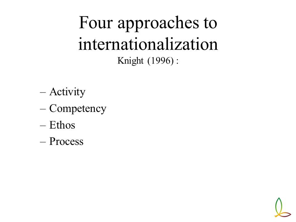 Four approaches to internationalization Knight (1996) : –Activity –Competency –Ethos –Process