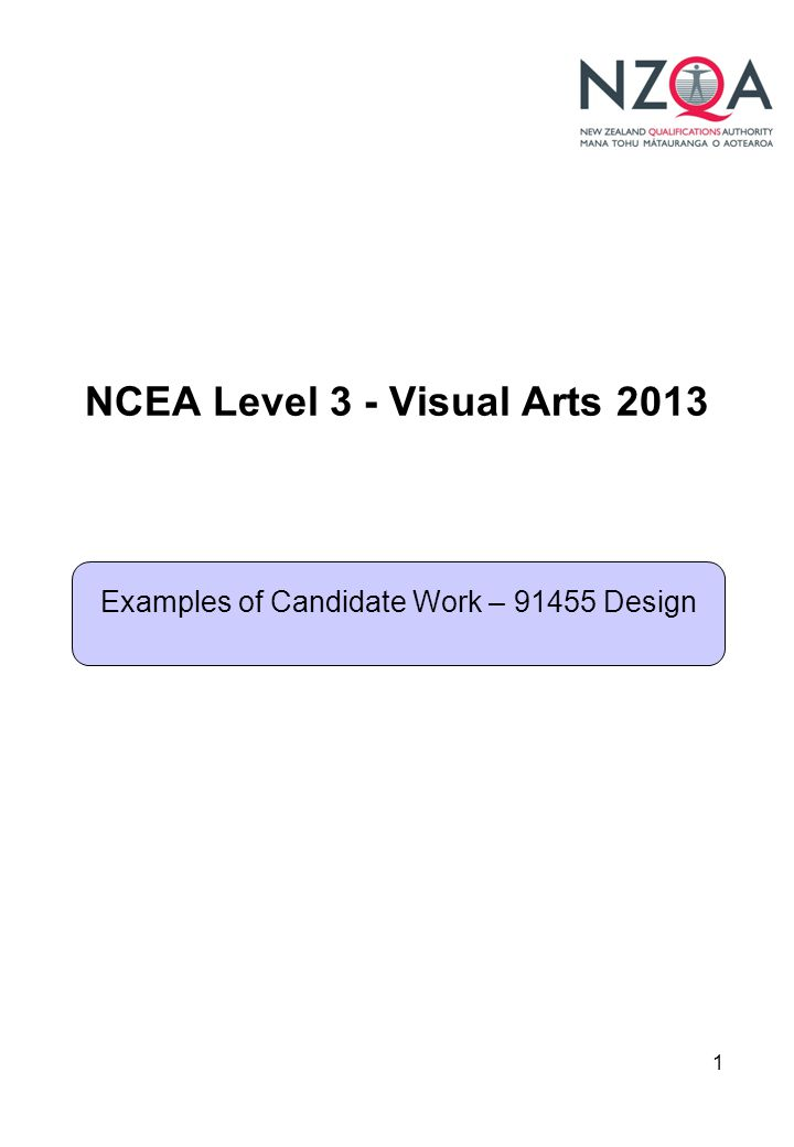 1 NCEA Level 3 - Visual Arts 2013 Examples of Candidate Work – 91455 Design