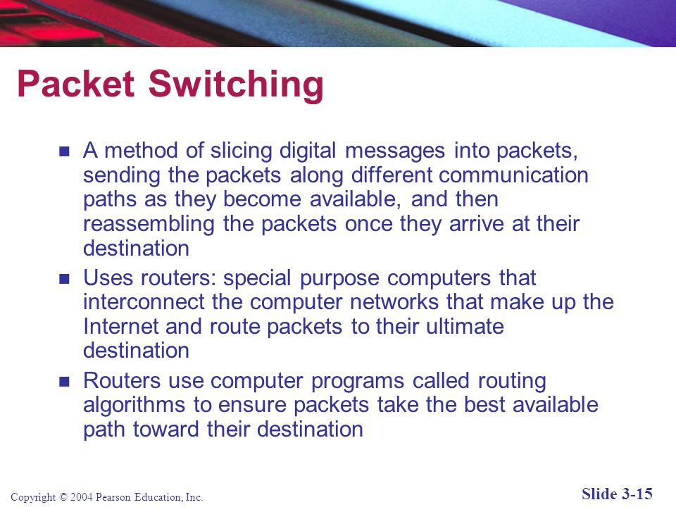 Copyright © 2004 Pearson Education, Inc. Slide 3-15 Packet Switching A method of slicing digital messages into packets, sending the packets along diff
