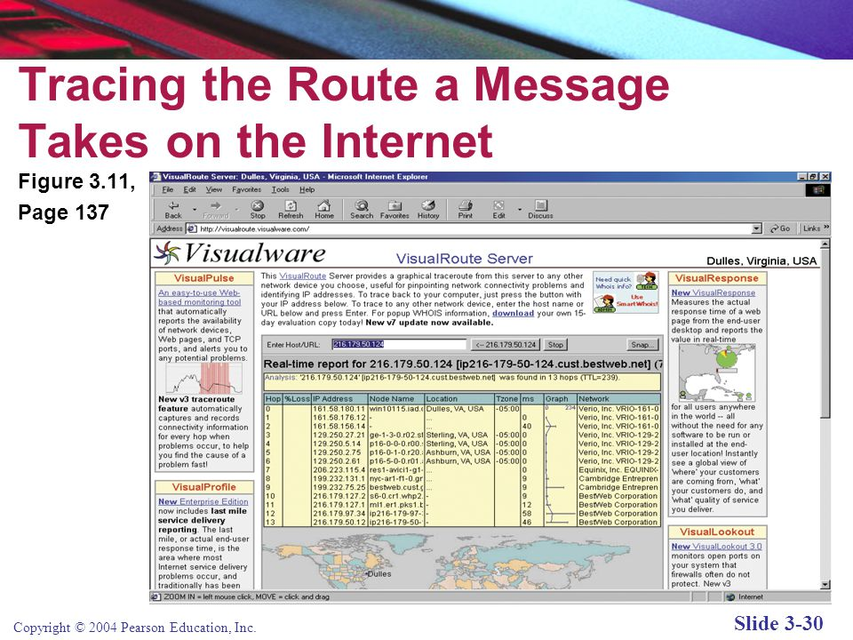 Copyright © 2004 Pearson Education, Inc. Slide 3-30 Tracing the Route a Message Takes on the Internet Figure 3.11, Page 137