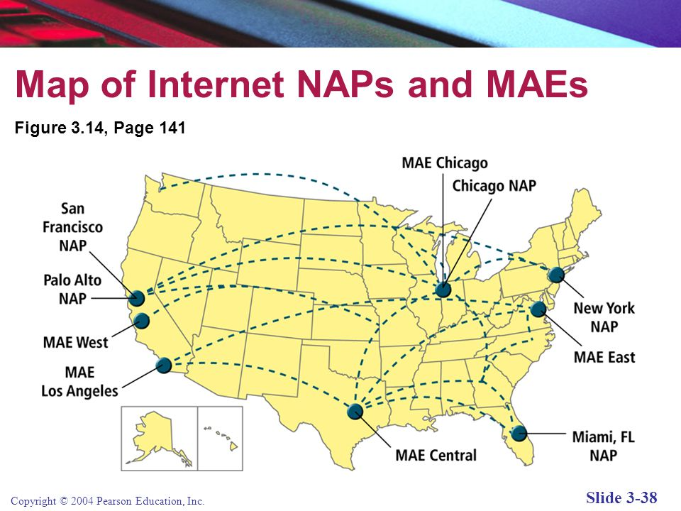 Copyright © 2004 Pearson Education, Inc. Slide 3-38 Map of Internet NAPs and MAEs Figure 3.14, Page 141