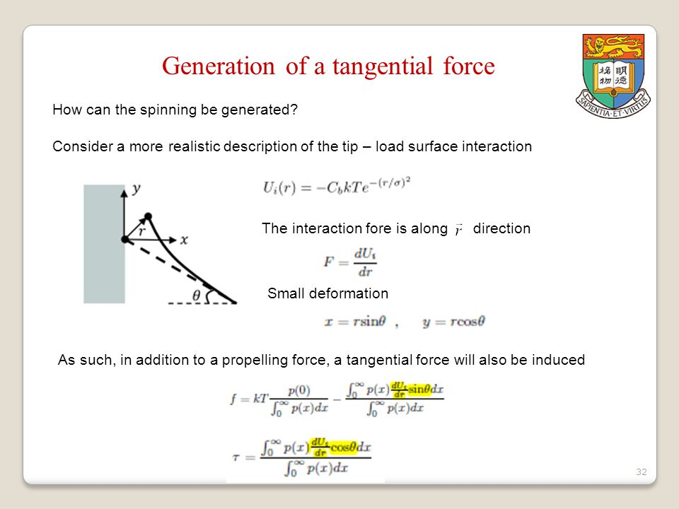 32 Generation of a tangential force How can the spinning be generated.