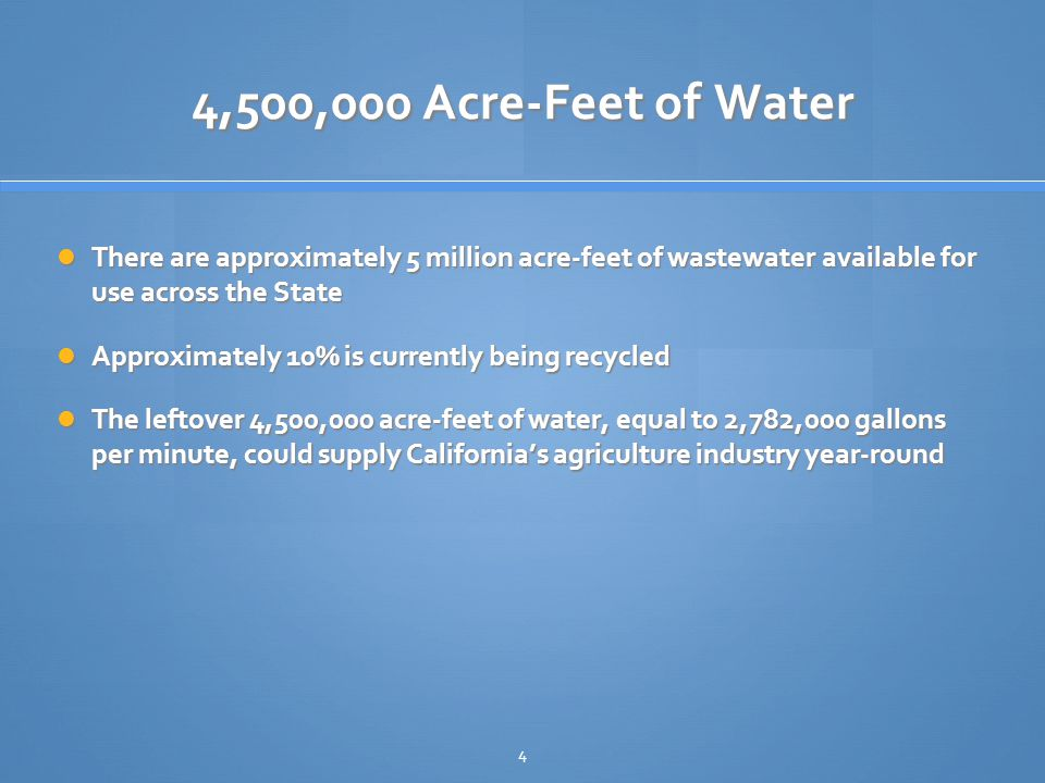 4,500,000 Acre-Feet of Water There are approximately 5 million acre-feet of wastewater available for use across the State There are approximately 5 million acre-feet of wastewater available for use across the State Approximately 10% is currently being recycled Approximately 10% is currently being recycled The leftover 4,500,000 acre-feet of water, equal to 2,782,000 gallons per minute, could supply California's agriculture industry year-round The leftover 4,500,000 acre-feet of water, equal to 2,782,000 gallons per minute, could supply California's agriculture industry year-round 4