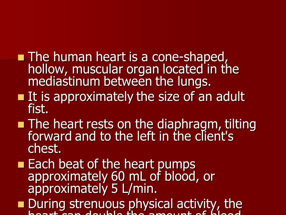 Dyspnea Can occur as a result of both cardiac and pulmonary disease Can occur as a result of both cardiac and pulmonary disease Difficult or labored breathing experienced as uncomfortable breathing or shortness of breath Difficult or labored breathing experienced as uncomfortable breathing or shortness of breath Dyspnea on exertion (DOE) Dyspnea on exertion (DOE) Orthopnea: dyspnea when lying flat Orthopnea: dyspnea when lying flat Paroxysmal nocturnal dyspnea after lying down for several hours Paroxysmal nocturnal dyspnea after lying down for several hours