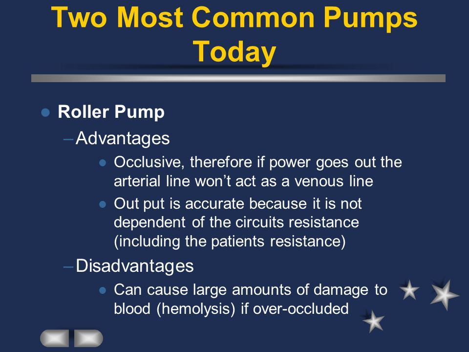 Two Most Common Pumps Today Roller Pump –Advantages Occlusive, therefore if power goes out the arterial line won't act as a venous line Out put is accurate because it is not dependent of the circuits resistance (including the patients resistance) –Disadvantages Can cause large amounts of damage to blood (hemolysis) if over-occluded