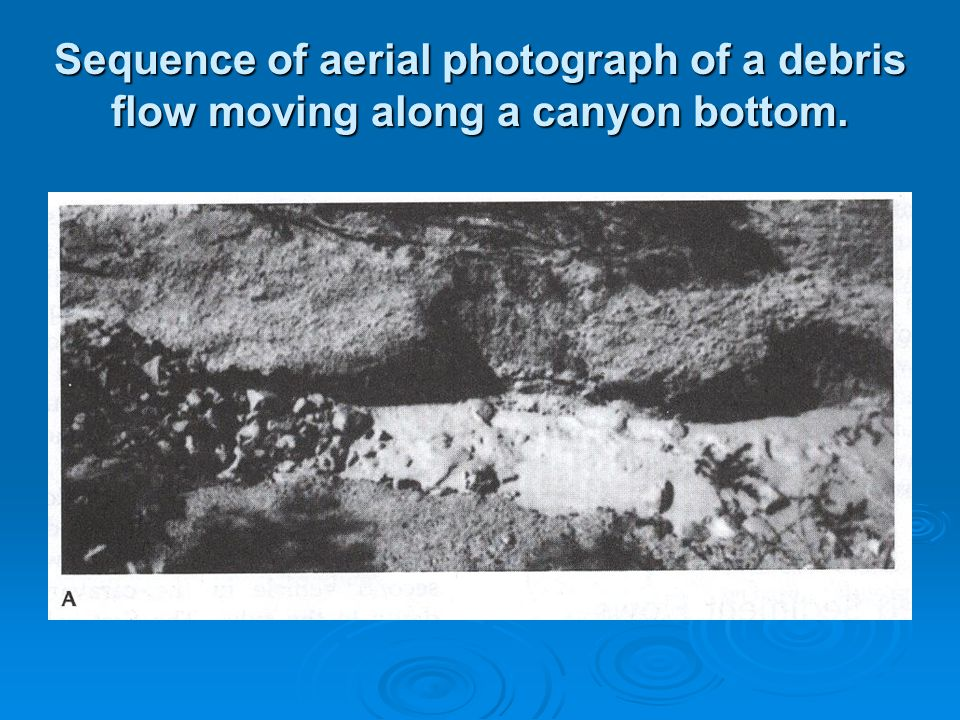 Sequence of aerial photograph of a debris flow moving along a canyon bottom.