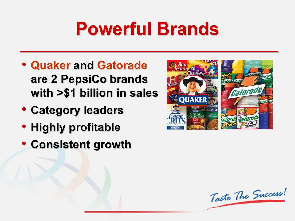 Powerful Brands Quaker and Gatorade are 2 PepsiCo brands with >$1 billion in sales Quaker and Gatorade are 2 PepsiCo brands with >$1 billion in sales