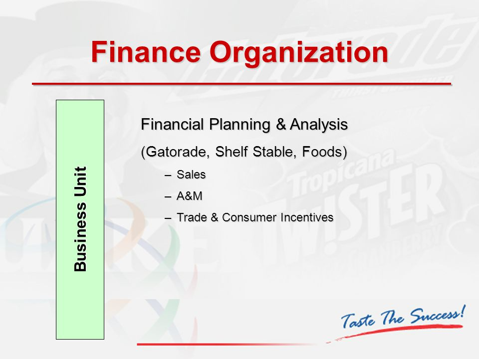 Business Unit Financial Planning & Analysis (Gatorade, Shelf Stable, Foods) –Sales –A&M –Trade & Consumer Incentives