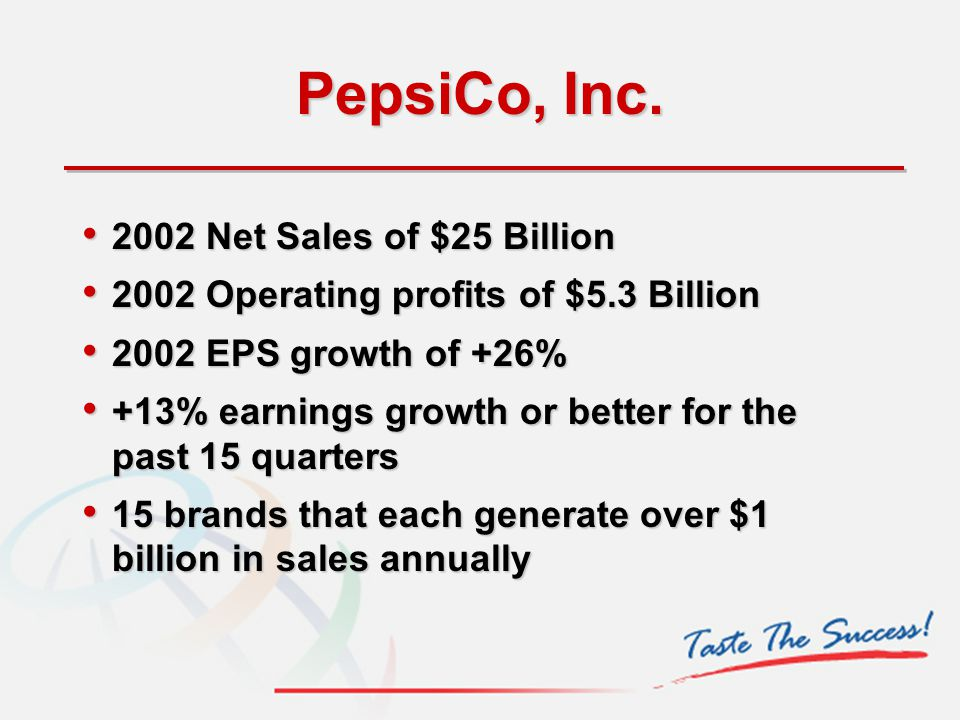 PepsiCo, Inc. 2002 Net Sales of $25 Billion 2002 Net Sales of $25 Billion 2002 Operating profits of $5.3 Billion 2002 Operating profits of $5.3 Billio