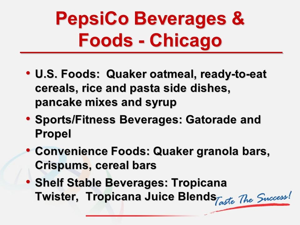 PepsiCo Beverages & Foods - Chicago U.S. Foods: Quaker oatmeal, ready-to-eat cereals, rice and pasta side dishes, pancake mixes and syrup U.S. Foods: