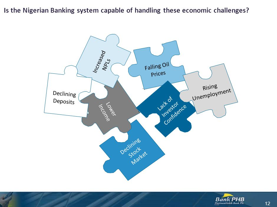 Is the Nigerian Banking system capable of handling these economic challenges? 12 Increased NPLs Falling Oil Prices Lack of Investor Confidence Declini