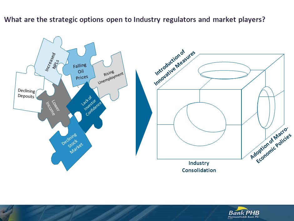 What are the strategic options open to Industry regulators and market players? Adoption of Macro- Economic Policies Industry Consolidation Introductio