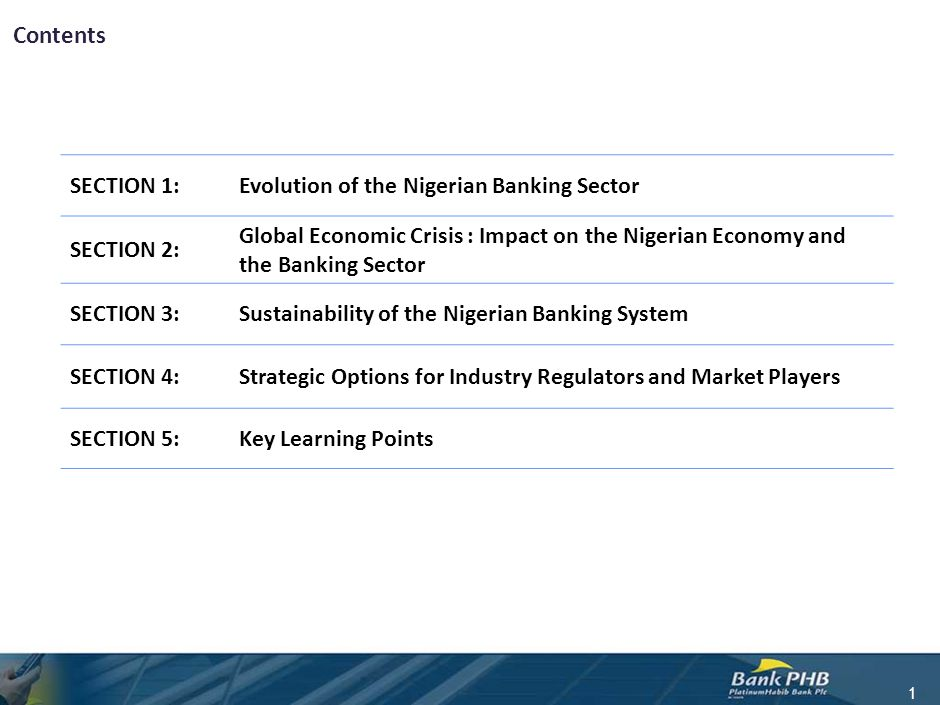 Contents 1 SECTION 1:Evolution of the Nigerian Banking Sector SECTION 2: Global Economic Crisis : Impact on the Nigerian Economy and the Banking Secto