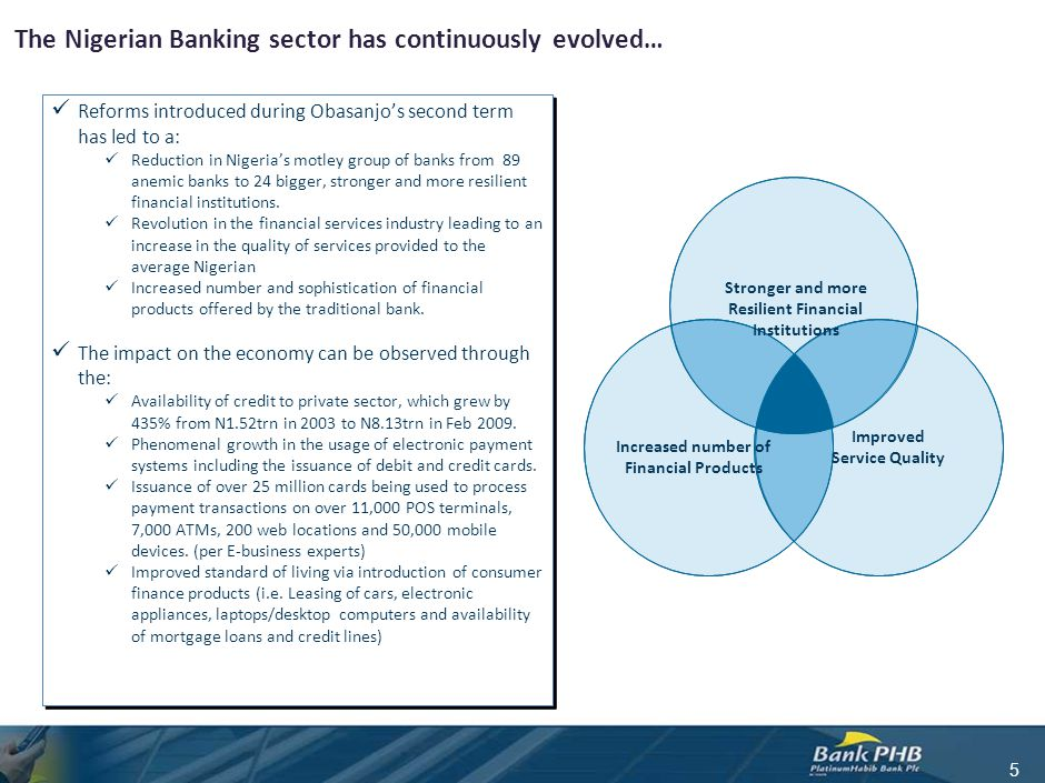 The Nigerian Banking sector has continuously evolved… Reforms introduced during Obasanjo's second term has led to a: Reduction in Nigeria's motley gro