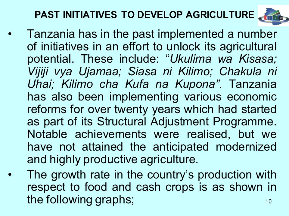 10 Tanzania has in the past implemented a number of initiatives in an effort to unlock its agricultural potential.