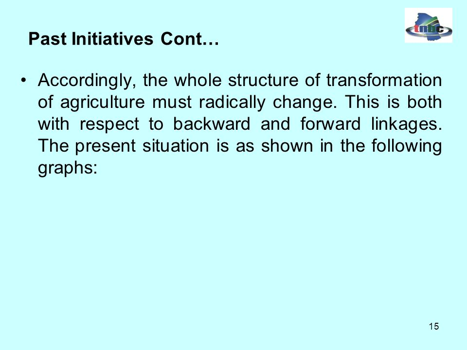 15 Past Initiatives Cont… Accordingly, the whole structure of transformation of agriculture must radically change.