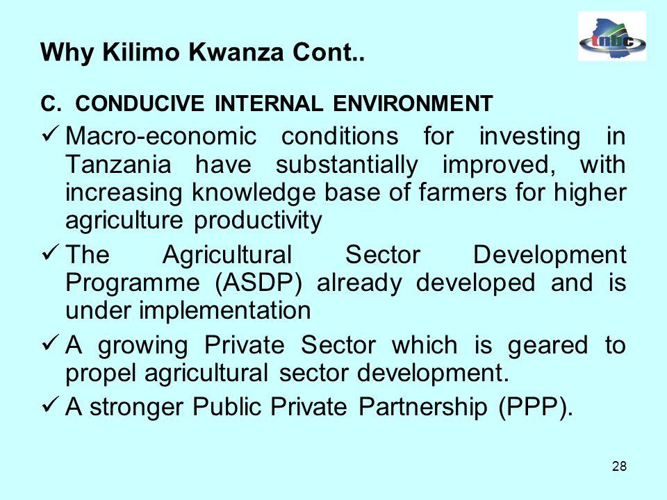 28 Why Kilimo Kwanza Cont.. C.