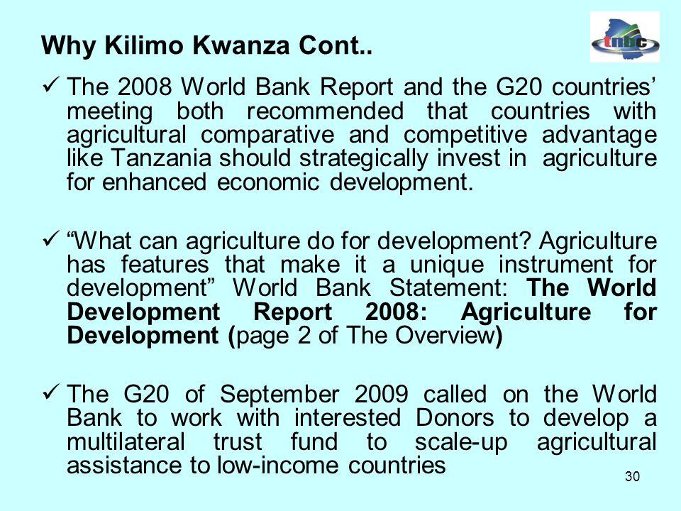 30 Why Kilimo Kwanza Cont..