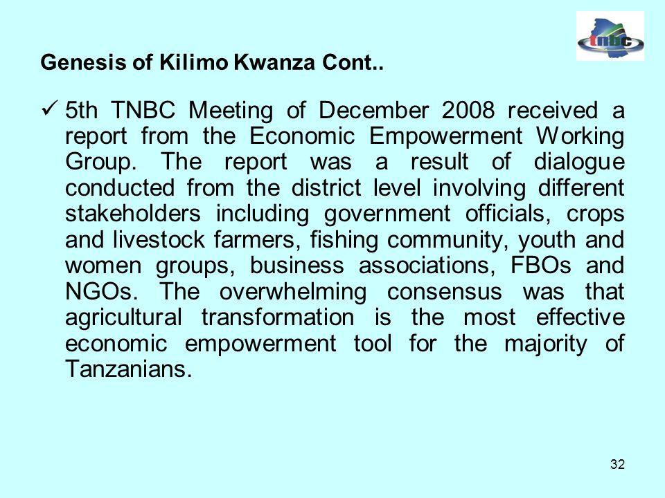 32 Genesis of Kilimo Kwanza Cont..