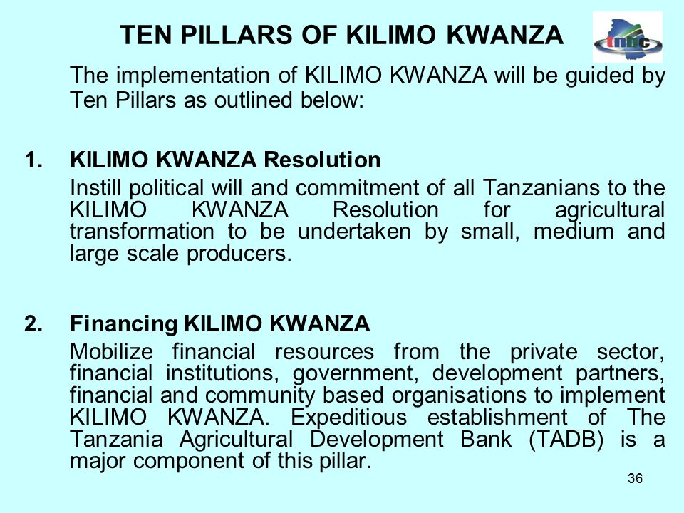 36 TEN PILLARS OF KILIMO KWANZA The implementation of KILIMO KWANZA will be guided by Ten Pillars as outlined below: 1.KILIMO KWANZA Resolution Instill political will and commitment of all Tanzanians to the KILIMO KWANZA Resolution for agricultural transformation to be undertaken by small, medium and large scale producers.