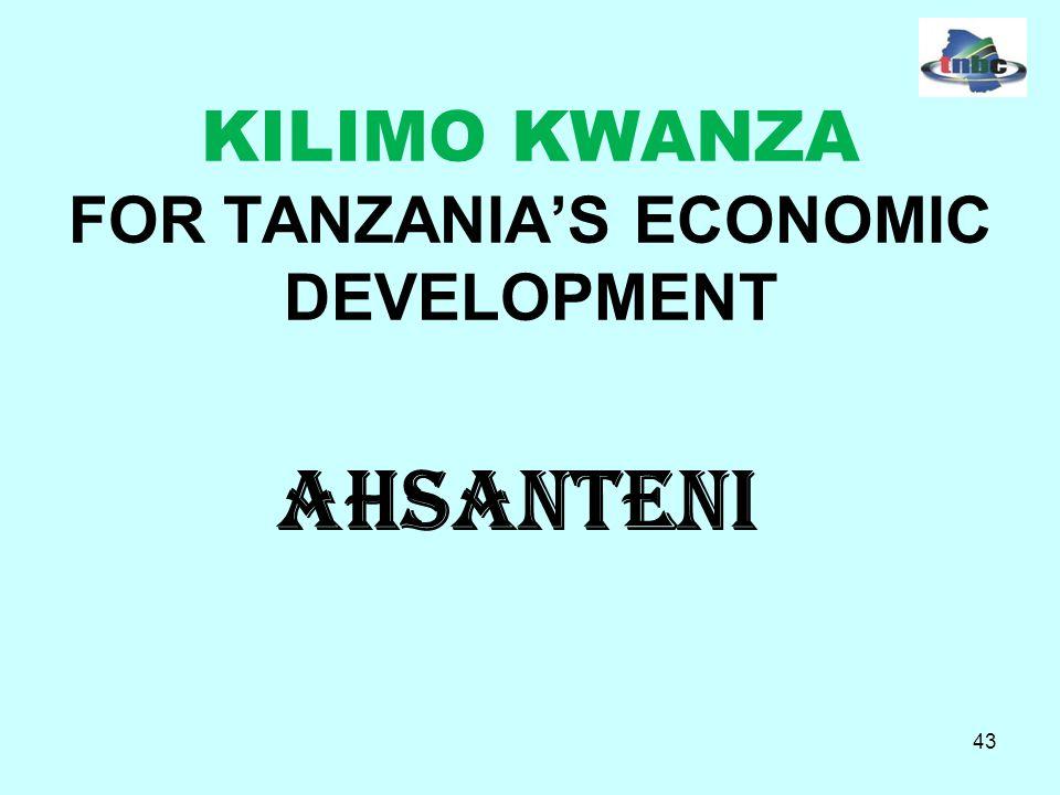 KILIMO KWANZA FOR TANZANIA'S ECONOMIC DEVELOPMENT AHSANTENI 43
