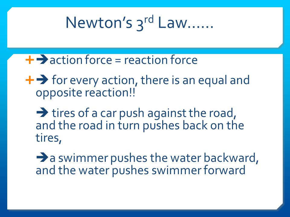 Newton's Third Law of Motion Whenever a body exerts a force on a second body, the second body exerts an oppositely directed force of equal magnitude on the first body.