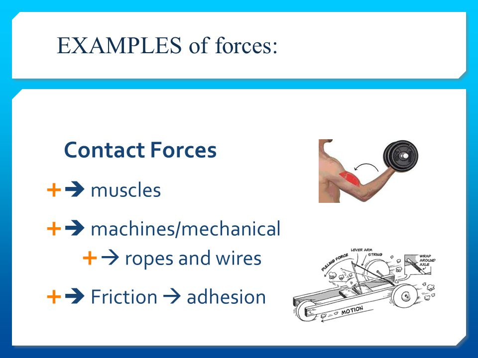   control over movement:  desired motion  or preventing undesirable movement Apply Force: