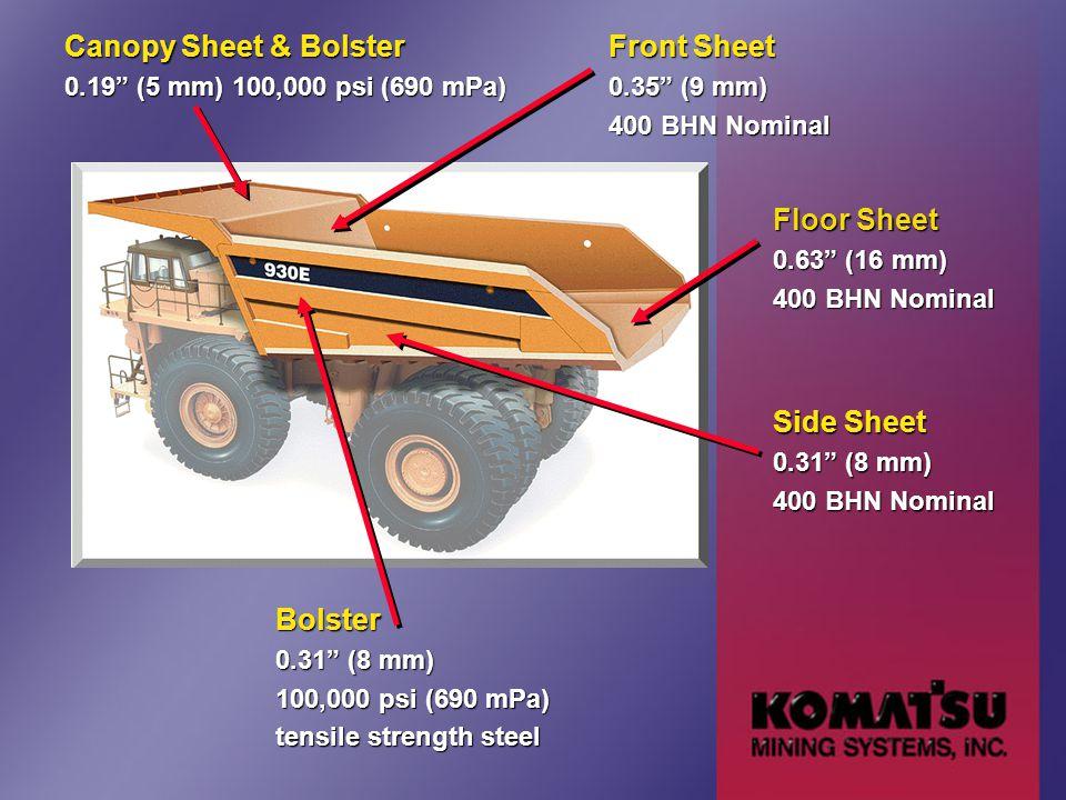 Canopy Sheet & Bolster 0.19 (5 mm) 100,000 psi (690 mPa) Front Sheet 0.35 (9 mm) 400 BHN Nominal Floor Sheet 0.63 (16 mm) 400 BHN Nominal Side Sheet 0.31 (8 mm) 400 BHN Nominal Bolster 0.31 (8 mm) 100,000 psi (690 mPa) tensile strength steel