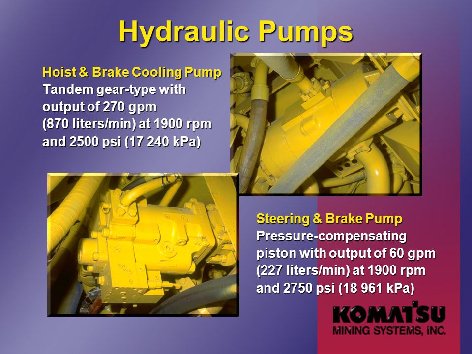 Hydraulic Pumps Hoist & Brake Cooling Pump Tandem gear-type with output of 270 gpm (870 liters/min) at 1900 rpm and 2500 psi (17 240 kPa) Steering & B