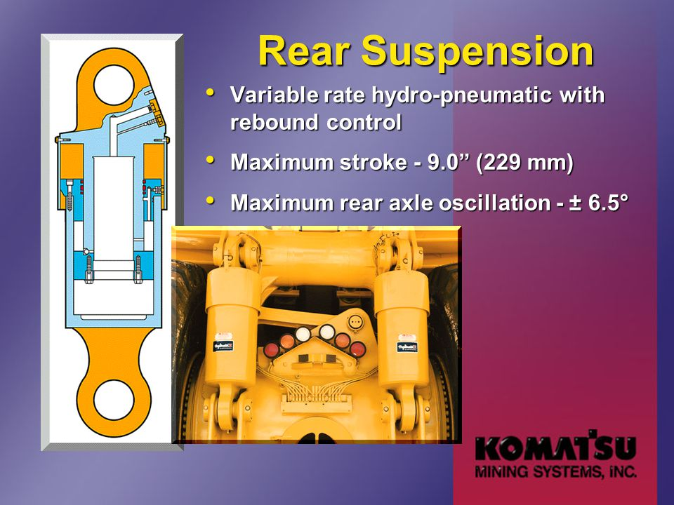 "Rear Suspension Variable rate hydro-pneumatic with rebound control Variable rate hydro-pneumatic with rebound control Maximum stroke - 9.0"" (229 mm) M"