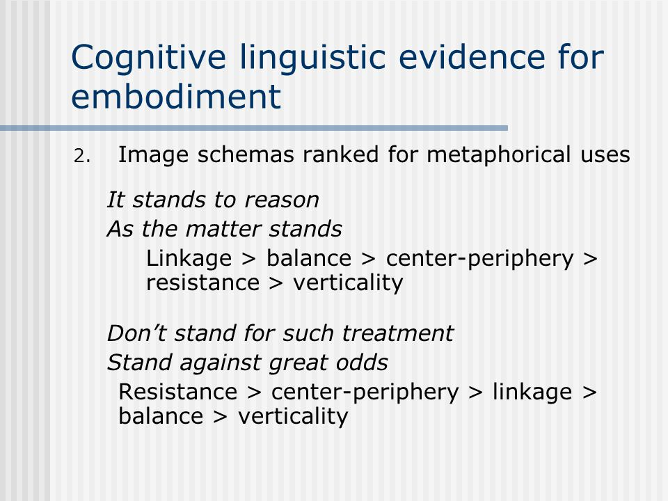 Cognitive linguistic evidence for embodiment 2. Image schemas ranked for metaphorical uses It stands to reason As the matter stands Linkage > balance