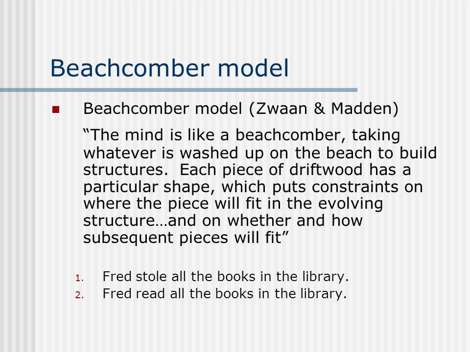 "Beachcomber model Beachcomber model (Zwaan & Madden) ""The mind is like a beachcomber, taking whatever is washed up on the beach to build structures. E"