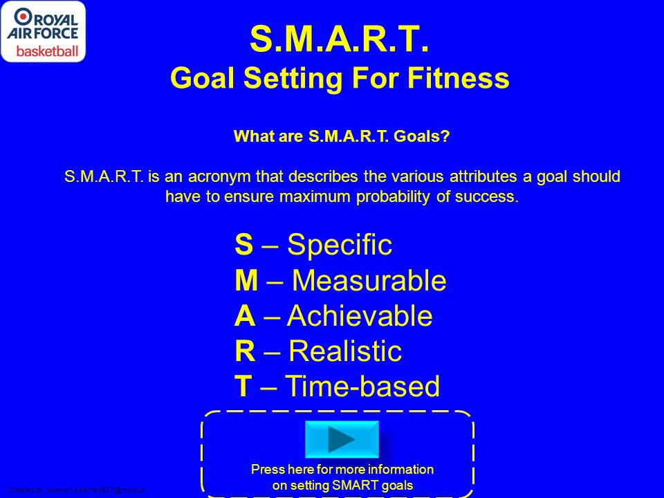 S.M.A.R.T. Goal Setting For Fitness What are S.M.A.R.T. Goals? S.M.A.R.T. is an acronym that describes the various attributes a goal should have to en