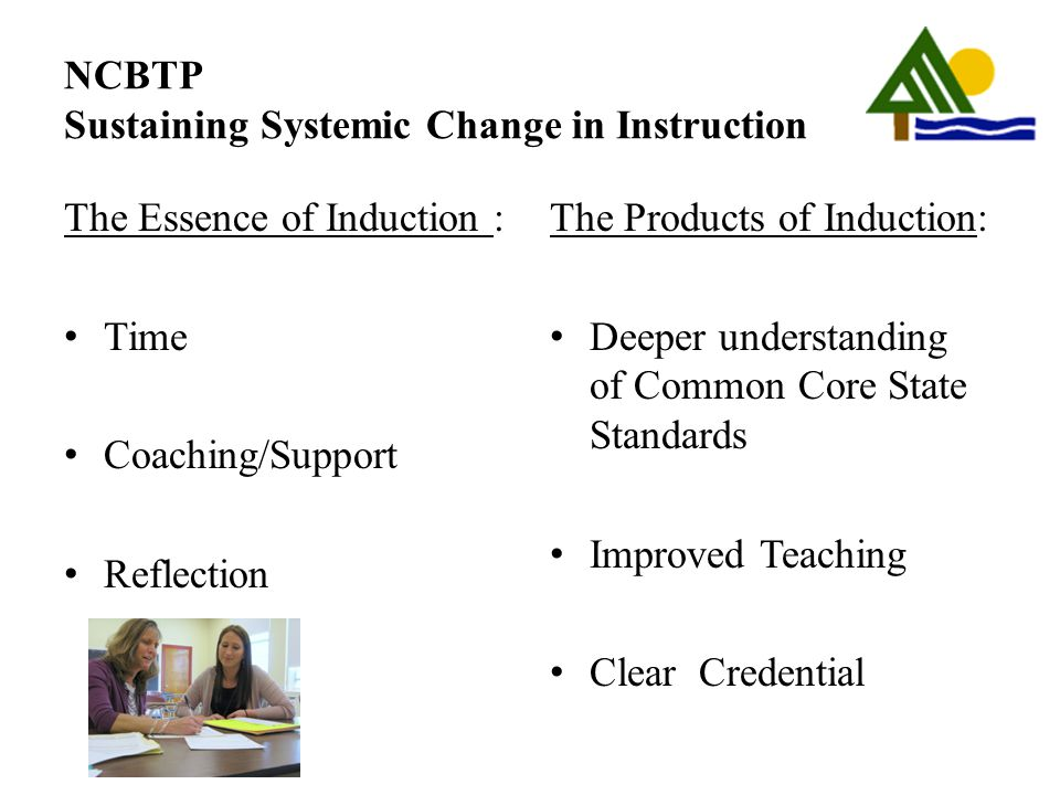 NCBTP Sustaining Systemic Change in Instruction The Essence of Induction : Time Coaching/Support Reflection The Products of Induction: Deeper understa