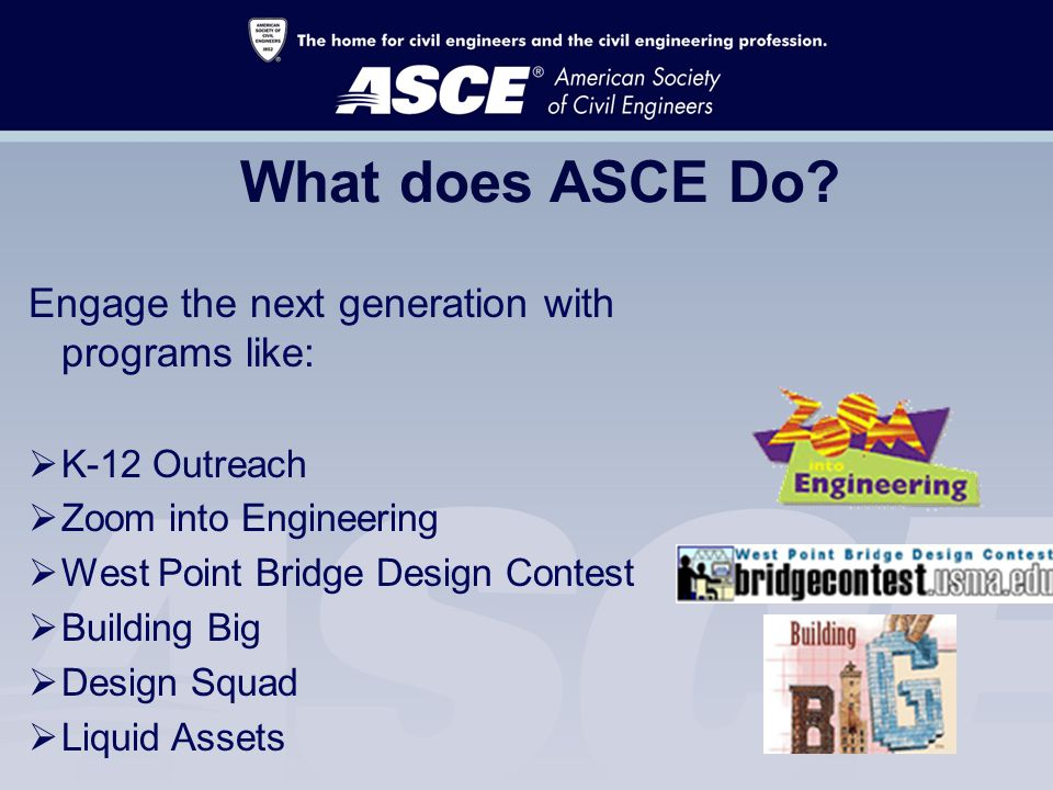 What does ASCE Do.