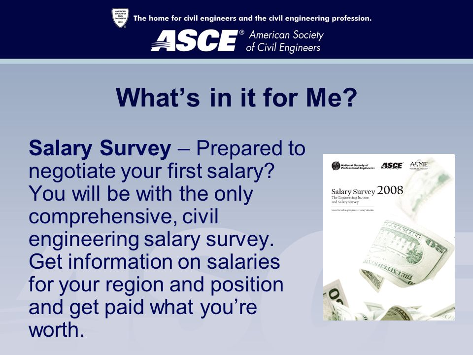 What's in it for Me. Salary Survey – Prepared to negotiate your first salary.