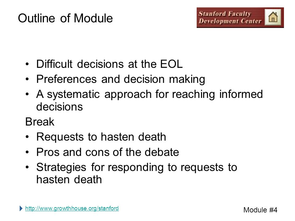 http://www.growthhouse.org/stanford Module #4 Brainstorm When a person is dying, what are some of the most difficult decisions that come up?