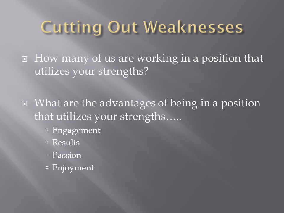  How many of us are working in a position that utilizes your strengths.