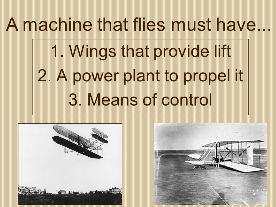 1. Wings that provide lift 2. A power plant to propel it 3.