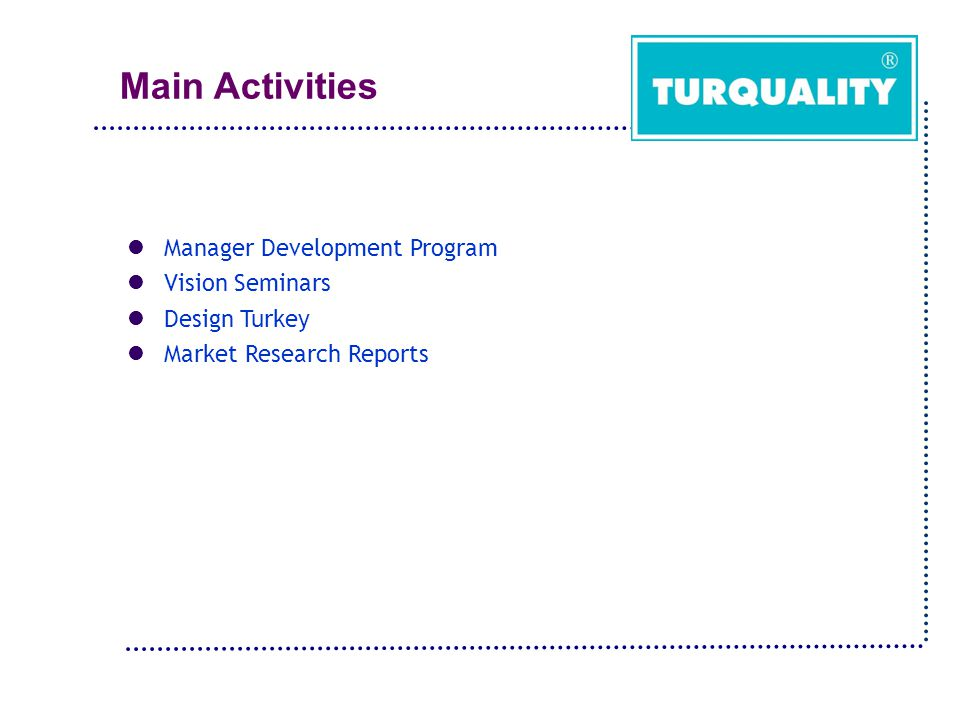 Main Activities Manager Development Program Vision Seminars Design Turkey Market Research Reports