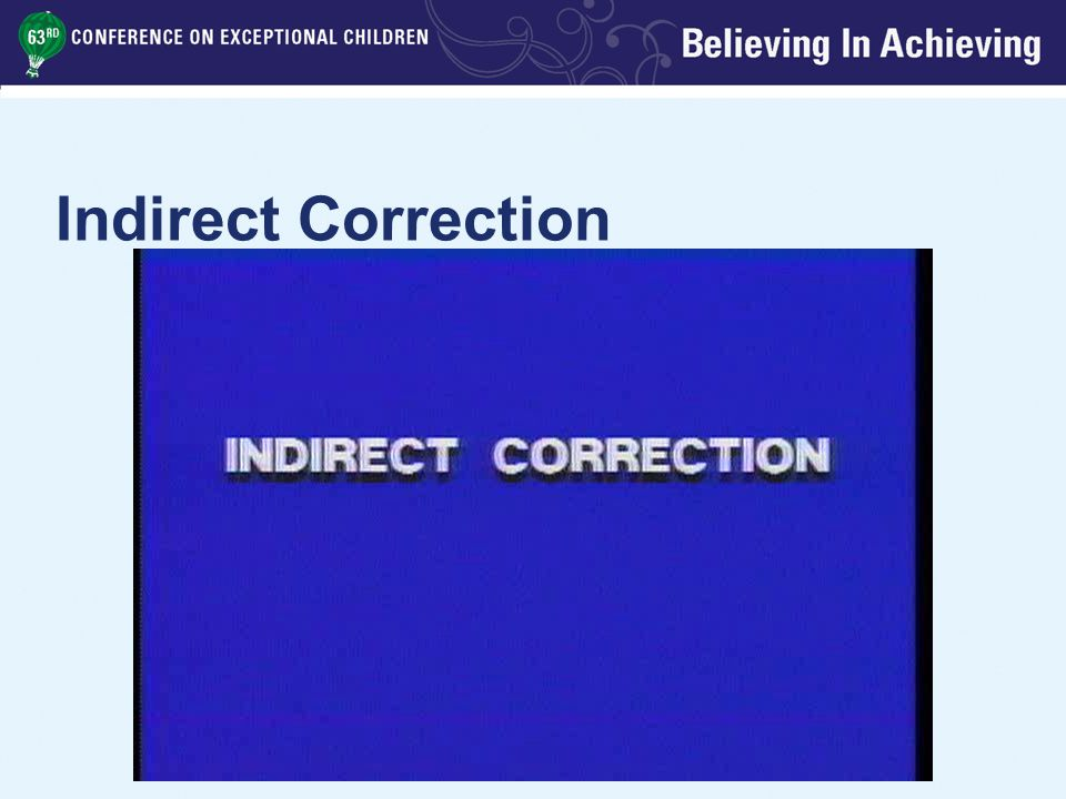 Indirect Correction